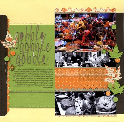 CardoftheWeek.com featured scrapbook page of the week thanksgiving page by Robyn Werlich from Be Creative